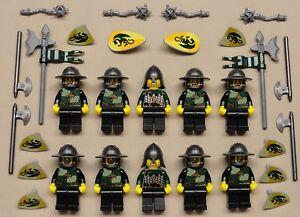 10-Lego-Castle-Minifigs-Knights-Guys-Men-DRAGON-KNIGHT-KINGDOMS-Dark-Green