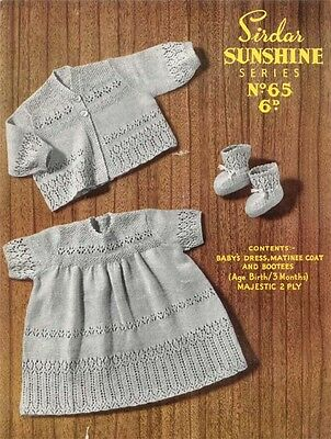Baby Girl vintage dress, cardigan and bootees pattern. 2ply wool- to Knit