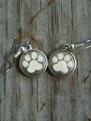 White Enameled Paw Print Cat Dog Tiger Silver Plated Earrings