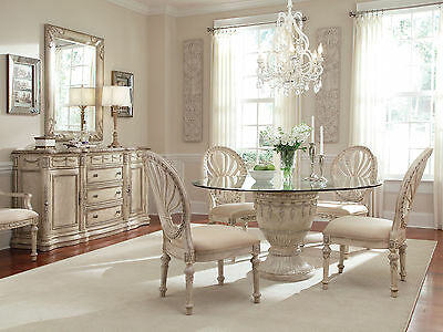 GRANDE PALACE - 7pcs Traditional Round Glass Top Dining Room Table & Chairs Set