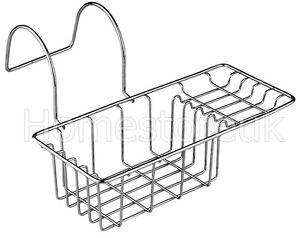 Chrome Over Bath Side Bathroom Organiser Soap Dish Tray Caddy Tidy