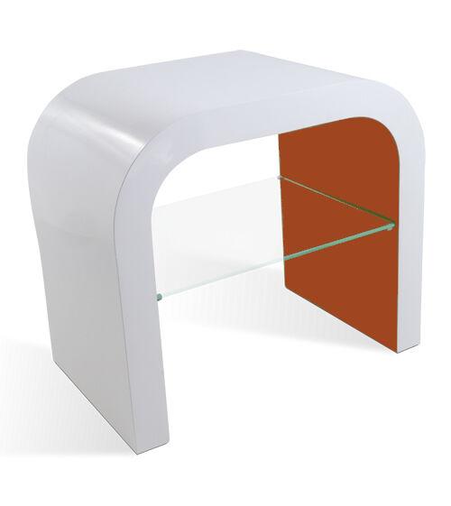 Modern Designer Bed Side Lamp Table Retro Small Gloss Contemporary Glass Shelf