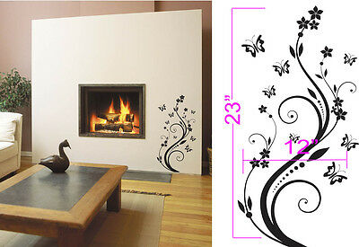 """Butterfly Wall Decal Sticker Removable 12"""" wide 23"""" tall in white or black"""