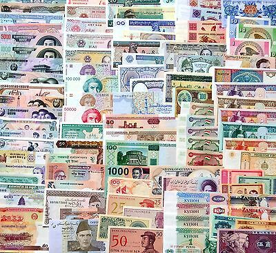 100 new foreign banknotes collection. No repetition. All real bill.  UNC. 100PCS
