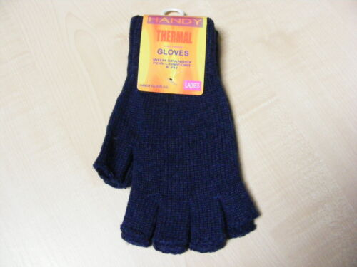 ONE SIZE NEW WOMENS LADIES BLUE DARK BLUE THERMAL FINGERLESS STRETCH GLOVES