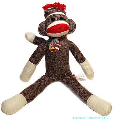 "Schylling 20"" Red Heel Sock Monkey Plush Doll NEW!"