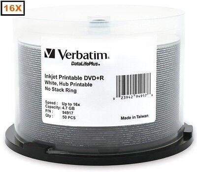 100-Pak =16X= VERBATIM =WHITE INKJET HUB= DVD+R's! Verbatim 94917