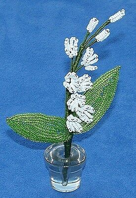 Vintage French Glass Beaded White Lily of Valley Flower Bouquet Green Stem