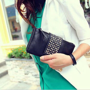 Korean-Style-PU-Leather-Handbag-Rivet-Lady-Clutch-Purse-Wallet-Evening-Bag