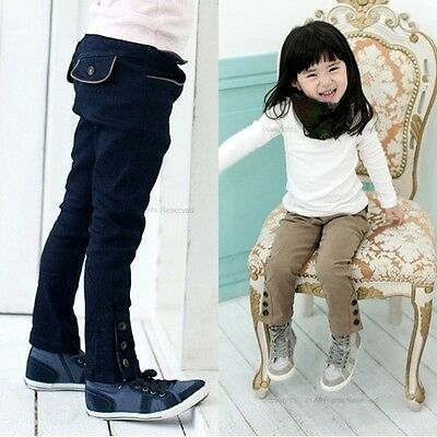 Toddlers Kids Girls Cute Buttons 100% Cotton Harem Pants Trousers 2-7 Y P071