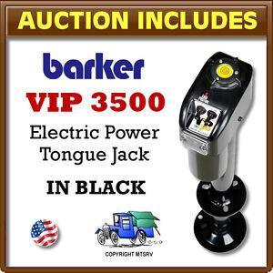 Barker-VIP-3500-BLACK-Electric-Trailer-Power-Tongue-Jack-18-034-Stroke-USA-Made