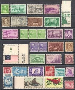 33-US-stamps-733-3-842-3-Jefferson-737-3-Whistler-039-s-Mother-strip-MNH