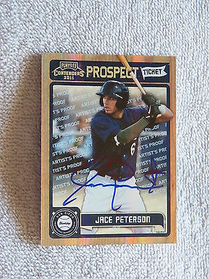 Padres Jace Peterson Signed 2011 Playoff Artist Proof Prospect Ticket #/49 Auto