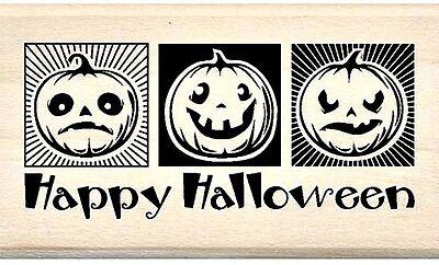 Inkadinkado Three Jack O Lanterns Wood Stamp Rubber Mounted Halloween Fall NEW