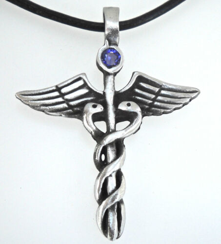 Pewter CADUCEUS Medical DR RN Nurse TANZANITE Crystal JUNE Birthstone Pendant
