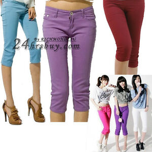 14-Candy-Colors-High-Stretch-Women-039-s-Skinny-Capris-Cropped-Beach-Pants