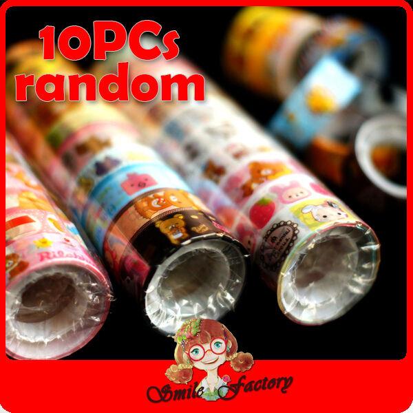 10PCs Rilakkuma Relax Bear DIY Scrapbook Album Diary Deco Sticker Color Tape