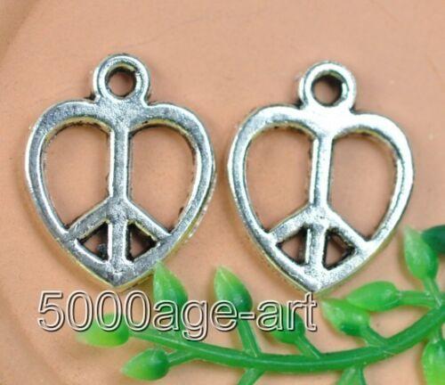 30pcs Tibetan Silver Coeur Paix Signe Charms Pendentifs Fit Bracelet A0160