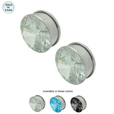 Pair of Large Gauge Ear Plug Double Flare with CZ Jeweled