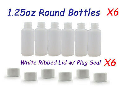 6 Small Empty Plastic Bottles 1.25oz + Ribbed Lid