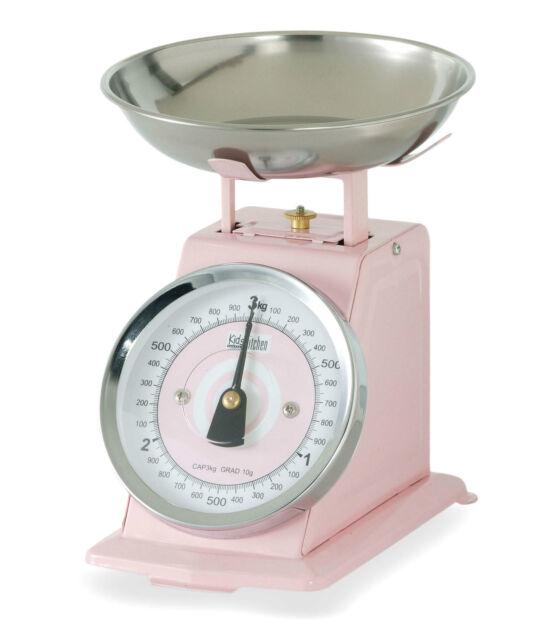 Retro Metal Enamel Mini Kitchen Scales 3kg Vintage Style *NEW* - PINK