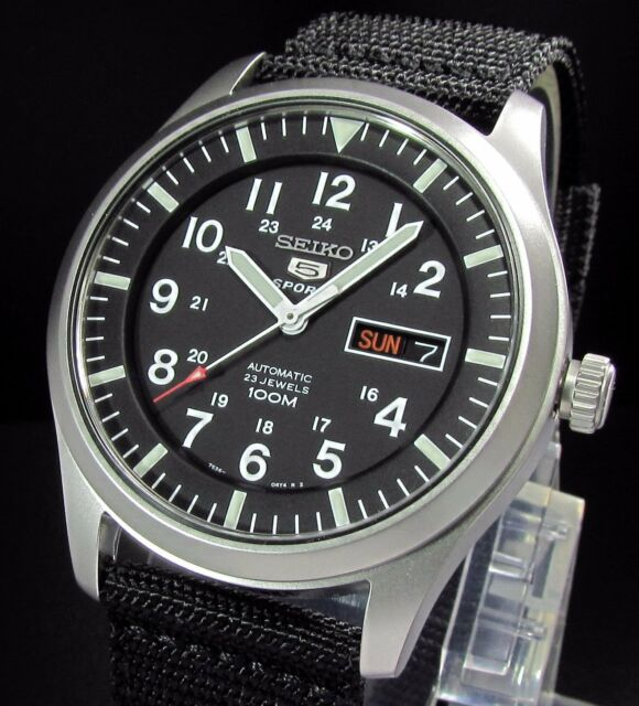 SEIKO 5 Sports SNZG15K1 Military Automatic Retro Mechanical Watch See Thru Case