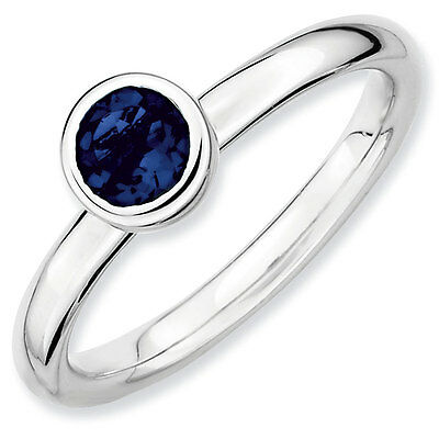 Silver Stackable Ring 5 mm Low Set Round Created Sapphire Stone, QSK516