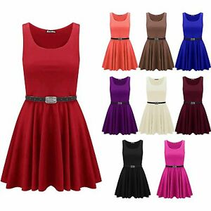 Womens-Belted-Sleeveless-Flared-Franki-Short-Party-Ladies-Skater-Dress-Top-8-14