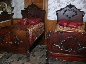 image is loading antique r j horner french mahogany twin bed set - Antique Twin Bed Frame