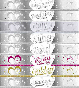 9ft-SILVER-amp-WHITE-WEDDING-ANNIVERSARY-BANNERS-27cm-IDEAL-PARTY-DECORATIONS