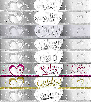 9ft SILVER & WHITE WEDDING / ANNIVERSARY BANNERS 27cm  IDEAL PARTY DECORATIONS