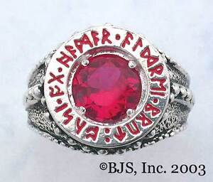 BADALI-Hobbit-Dwarven-Ring-Of-Power-Silver-034-Faux-Ruby-034-LOTR-Tolkien-IN-STOCK