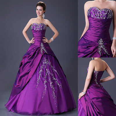 A Line Quinceanera Wedding Bridal Bridesmaid Ball Gown Prom Evening Party Dress