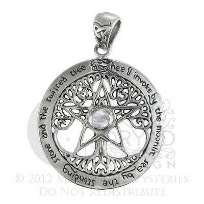 Sterling Silver XL Cut Tree Pentacle Moonstone Pentagram Pendant Dryad Design