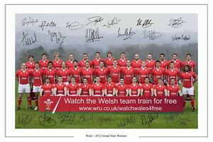 WALES-RUGBY-2012-GRAND-SLAM-SQUAD-SIGNED-AUTOGRAPH-PHOTO-PRINT