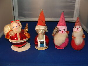 Lot-of-4-Vintage-Christmas-Ornaments-Japan