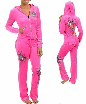 """M95"""" XL/XLarge PINK Stretchy,Roses,Heart Tattoo,Rhinestones Velour JOGGING SUIT"""