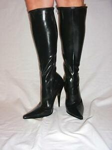 Black Or Red Latex Rubber Highs Boots Size 5 16 Heels 5 5 Poland Fs412 Ebay