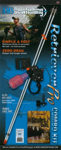 AMS Bowfishing Retriever Pro Combo Kit w/ Reel, Arrows, Rest, More! RH 610RC-200