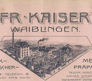 Fr. Kaiser Waiblingen - Stuttgart histor. Rechnung 1910 Württemberg Medizin Diät