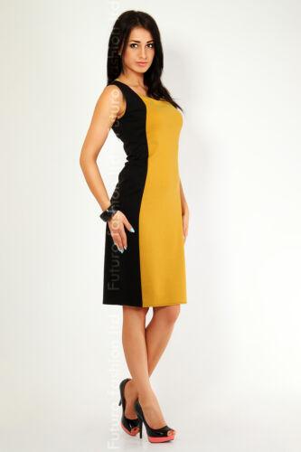 Optically Slimming Effect Women/'s Dress Square Neck Sleeveless Size 6-18 FK02