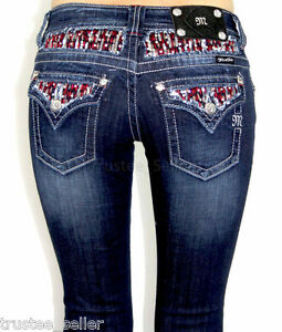 NWT-MISS-ME-Stretch-Hot-Red-Pick-Stitch-Sequins-Waterfall-Boot-Cut-Jeans-DK-128