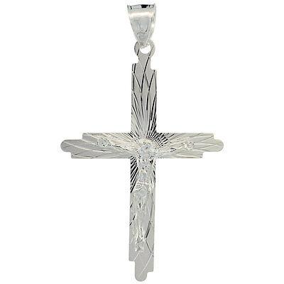 """Sterling Silver Crucifix Cross Pendant, 18"""" Italian Box Chain"""