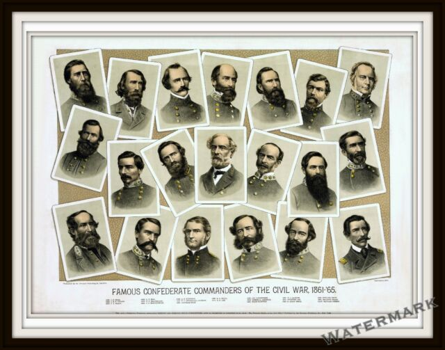 Historical  Civil War 1884 Lithograph of Famous Confederate Commanders  11x14
