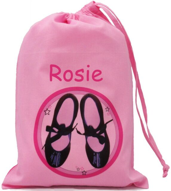 PINK PERSONALISED - TAP DANCING SHOES - SMALL PINK COTTON DRAWSTRING BAG
