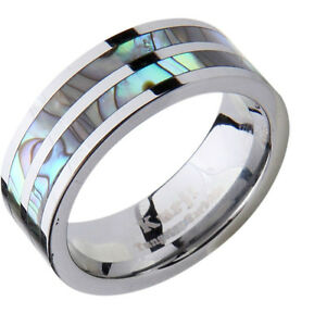 Mens Wedding Band Ring Tungsten Carbide Modern Abalone Shell Inlay Comfort Fi