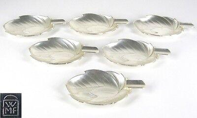 6x WMF Metall Ascher / Aschenbecher Blattform versilbert Leaf Shaped Ashtrays