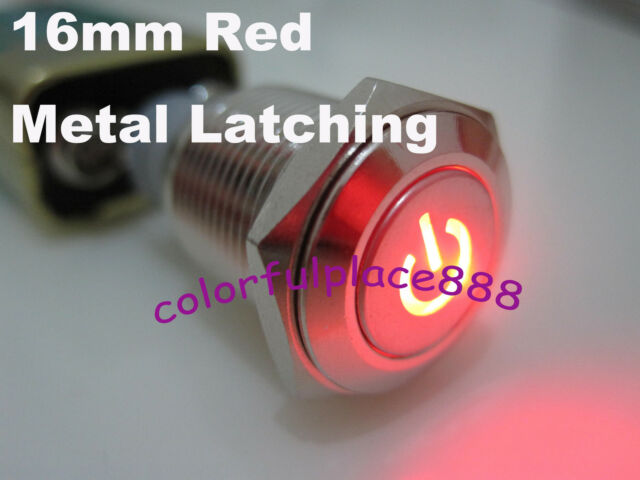 1pcs, 16mm 12V RED Led Push Button Metal ON-OFF Lock Switch For Car Boat Motor