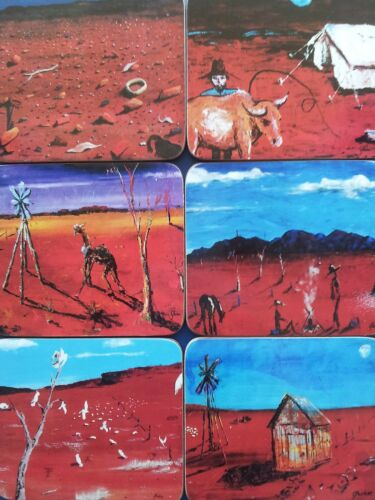Outback Australia Design Bar Drink Coasters Gift Boxed Set of 6