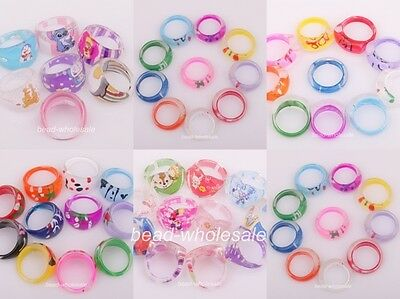 10pcs Assorted Color Lovely Cute Plastic Ring Children's Girls Kids Fashion Ring